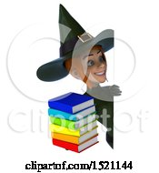 Clipart Of A 3d Sexy Green Witch Holding Books On A White Background Royalty Free Illustration by Julos