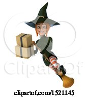 Clipart Of A 3d Sexy Green Witch Holding Boxes On A White Background Royalty Free Illustration