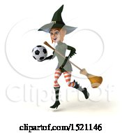 Clipart Of A 3d Sexy Green Witch Holding A Soccer Ball On A White Background Royalty Free Illustration by Julos