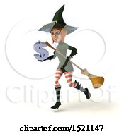 Clipart Of A 3d Sexy Green Witch Holding A Dollar Sign On A White Background Royalty Free Illustration