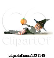 Clipart Of A 3d Sexy Green Witch Holding An Orange On A White Background Royalty Free Illustration by Julos