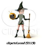 Clipart Of A 3d Sexy Green Witch Holding A Tv On A White Background Royalty Free Illustration by Julos