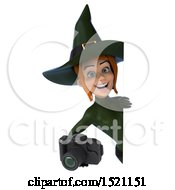 Clipart Of A 3d Sexy Green Witch Holding A Camera On A White Background Royalty Free Illustration