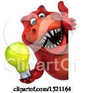 Poster, Art Print Of 3d Red T Rex Dinosaur Holding A Light Bulb On A White Background