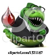 Clipart Of A 3d Green Business T Rex Dinosaur Holding A Blood Drop On A White Background Royalty Free Illustration