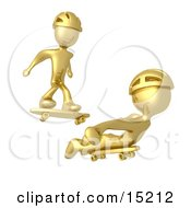 Two Gold Figures Skateboarding And Wearing Helmets Clipart Illustration Image