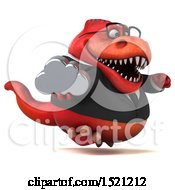 Clipart Of A 3d Red Business T Rex Dinosaur Holding A Cloud On A White Background Royalty Free Illustration by Julos