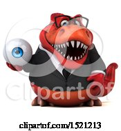 Clipart Of A 3d Red Business T Rex Dinosaur Holding An Eye On A White Background Royalty Free Illustration by Julos