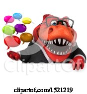 Clipart Of A 3d Red Business T Rex Dinosaur Holding Messages On A White Background Royalty Free Illustration by Julos