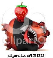 Clipart Of A 3d Red Business T Rex Dinosaur Holding A Strawberry On A White Background Royalty Free Illustration by Julos