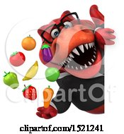 Clipart Of A 3d Red Business T Rex Dinosaur Holding Produce On A White Background Royalty Free Illustration by Julos