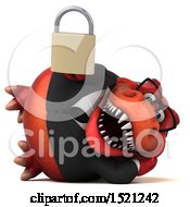 Clipart Of A 3d Red Business T Rex Dinosaur Holding A Padlock On A White Background Royalty Free Illustration by Julos