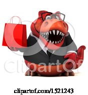 Clipart Of A 3d Red Business T Rex Dinosaur Holding A Shopping Bag On A White Background Royalty Free Illustration by Julos
