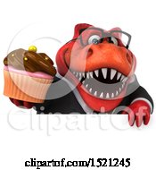 Clipart Of A 3d Red Business T Rex Dinosaur Holding A Cupcake On A White Background Royalty Free Illustration by Julos