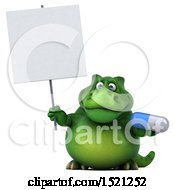 3d Green T Rex Dinosaur Holding A Pill On A White Background