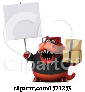 Clipart Of A 3d Red Business T Rex Dinosaur Holding Boxes On A White Background Royalty Free Illustration by Julos