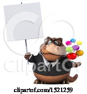 Clipart Of A 3d Brown Business T Rex Dinosaur Holding Messages On A White Background Royalty Free Illustration