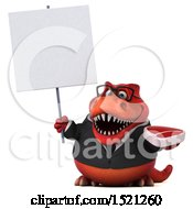 Clipart Of A 3d Red Business T Rex Dinosaur Holding A Steak On A White Background Royalty Free Illustration by Julos
