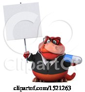 Clipart Of A 3d Red Business T Rex Dinosaur Holding A Pill On A White Background Royalty Free Illustration by Julos