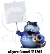 3d Blue T Rex Dinosaur Holding A Trumpet On A White Background