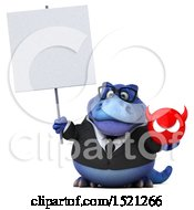 Clipart Of A 3d Blue Business T Rex Dinosaur Holding A Devil On A White Background Royalty Free Illustration by Julos