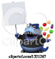 Clipart Of A 3d Blue Business T Rex Dinosaur Holding Produce On A White Background Royalty Free Illustration by Julos