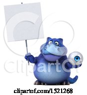 Clipart Of A 3d Blue T Rex Dinosaur Holding An Eye On A White Background Royalty Free Illustration by Julos
