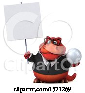 Clipart Of A 3d Red Business T Rex Dinosaur Holding A Golf Ball On A White Background Royalty Free Illustration by Julos