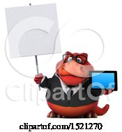 Clipart Of A 3d Red Business T Rex Dinosaur Holding A Tablet On A White Background Royalty Free Illustration by Julos
