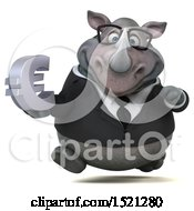 Clipart Of A 3d Business Reggie Rhinoceros Holding A Euro On A White Background Royalty Free Illustration by Julos