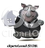 Clipart Of A 3d Business Reggie Rhinoceros Holding A House On A White Background Royalty Free Illustration by Julos