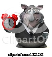 Clipart Of A 3d Business Reggie Rhinoceros Holding An Alarm Clock On A White Background Royalty Free Illustration by Julos