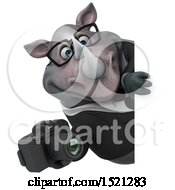 Clipart Of A 3d Business Reggie Rhinoceros Holding A Camera On A White Background Royalty Free Illustration by Julos