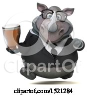 Clipart Of A 3d Business Reggie Rhinoceros Holding A Beer On A White Background Royalty Free Illustration by Julos
