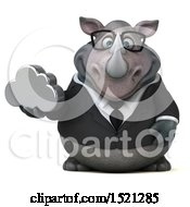 Clipart Of A 3d Business Reggie Rhinoceros Holding A Cloud On A White Background Royalty Free Illustration by Julos