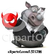 Clipart Of A 3d Business Reggie Rhinoceros Holding A Devil On A White Background Royalty Free Illustration by Julos