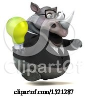 Poster, Art Print Of 3d Business Reggie Rhinoceros Holding A Light Bulb On A White Background