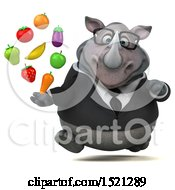 Clipart Of A 3d Business Reggie Rhinoceros Holding Produce On A White Background Royalty Free Illustration by Julos