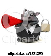 Clipart Of A 3d Business Reggie Rhinoceros Holding A Padlock On A White Background Royalty Free Illustration by Julos