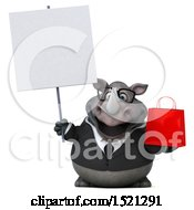 Clipart Of A 3d Business Reggie Rhinoceros Holding A Shopping Bag On A White Background Royalty Free Illustration by Julos