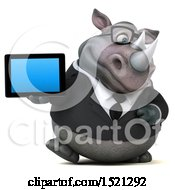Clipart Of A 3d Business Reggie Rhinoceros Holding A Tablet On A White Background Royalty Free Illustration by Julos