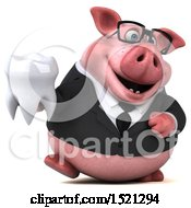 3d Chubby Business Pig Holding A Tooth On A White Background