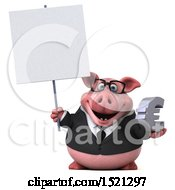 3d Chubby Business Pig Holding A Euro On A White Background
