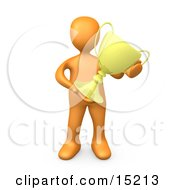 Orange Athlete Person Proudly Holding His Golden Trophy