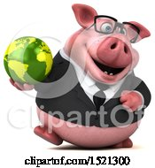 3d Chubby Business Pig Holding A Globe On A White Background