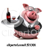 3d Chubby Business Pig Holding A Wine Tray On A White Background