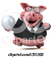 3d Chubby Business Pig Holding A Golf Ball On A White Background
