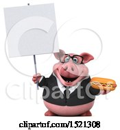 3d Chubby Business Pig Holding A Hot Dog On A White Background