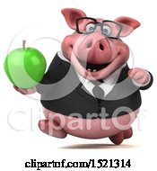 3d Chubby Business Pig Holding An Apple On A White Background