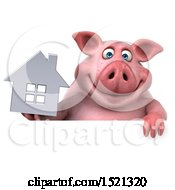 3d Chubby Pig Holding A House On A White Background